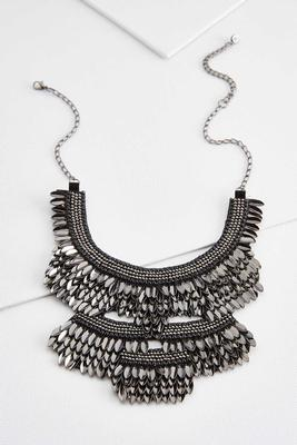 metallic fan bib necklace