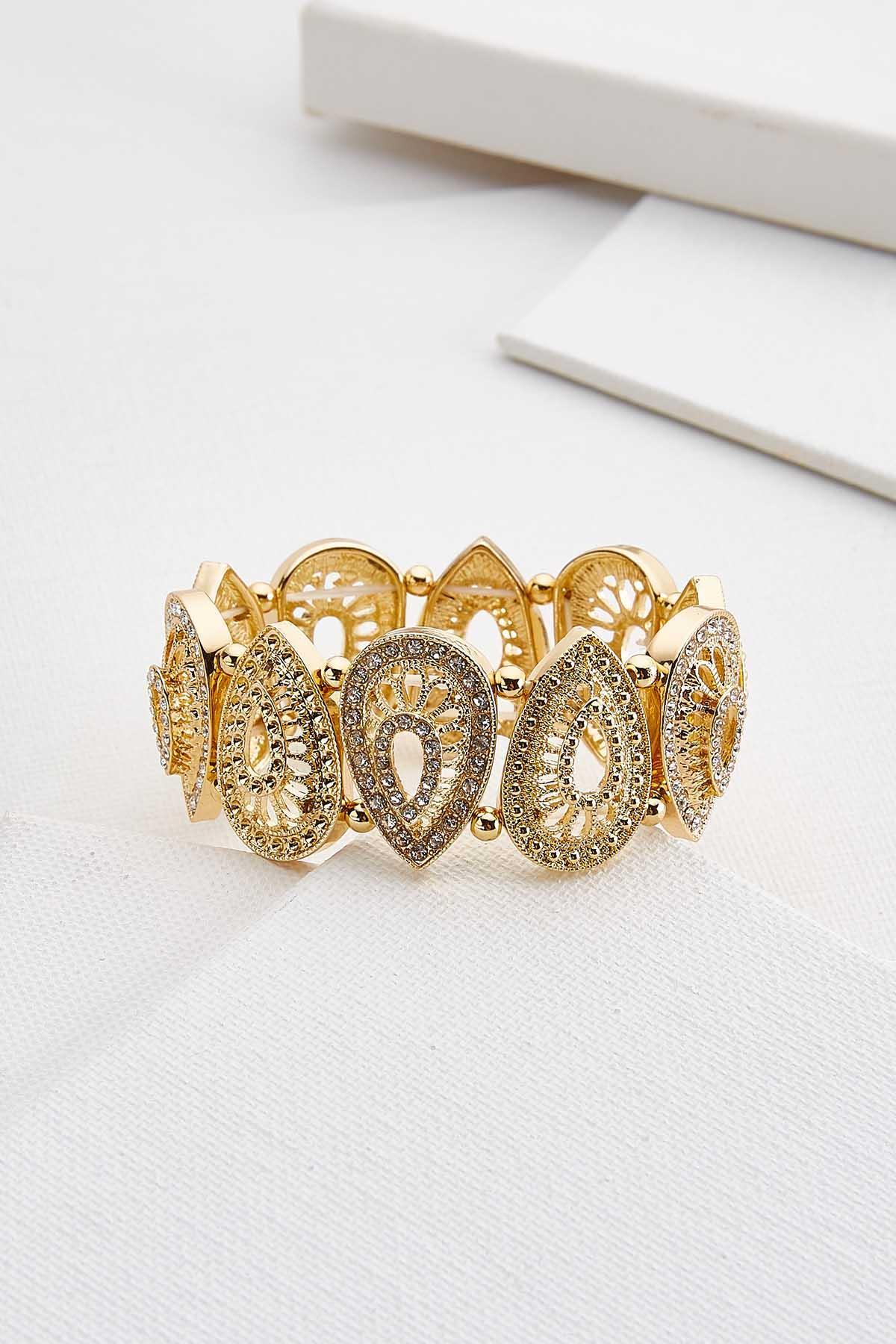 Filigree Rhinestone Stretch Bracelet