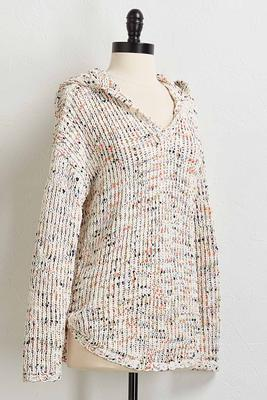 confetti hooded chenille sweater