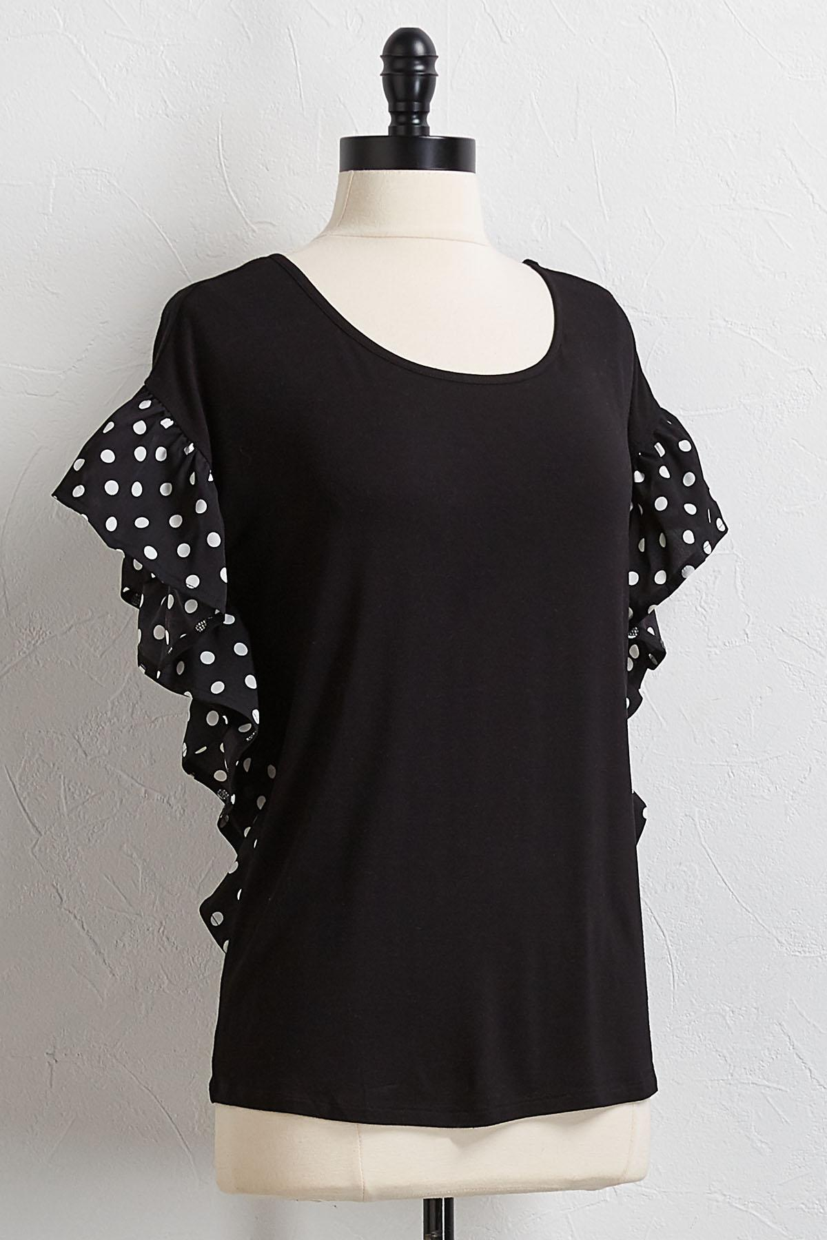 Contrast Polka Dotted Sleeve Top