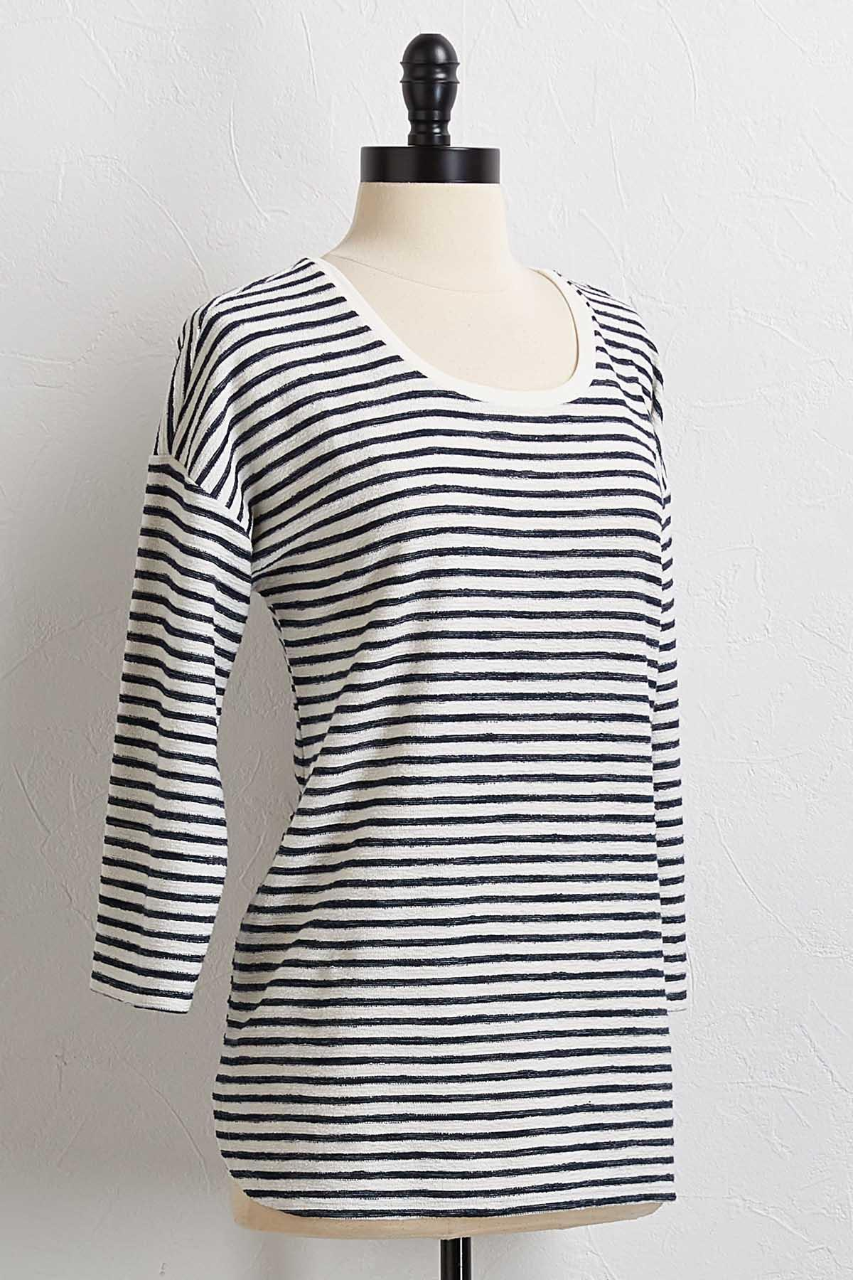 Navy Textured Stripe Top