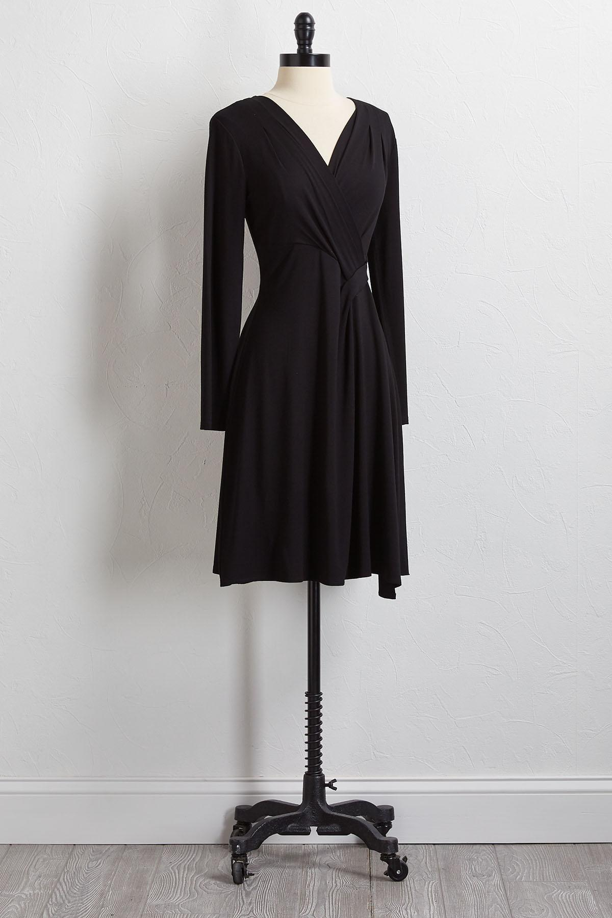 Solid Stretch V- Neck Dress