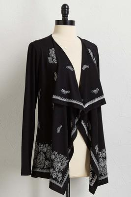 embroidered draped cardigan