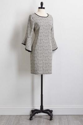 jacquard bell sleeve dress
