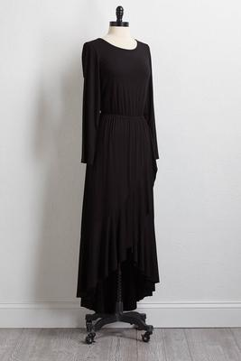 solid ruffled maxi dress