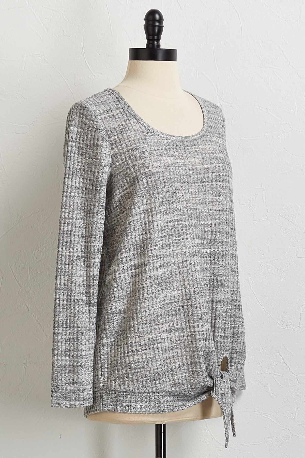 Gray Knotted Waffle Hacci Top