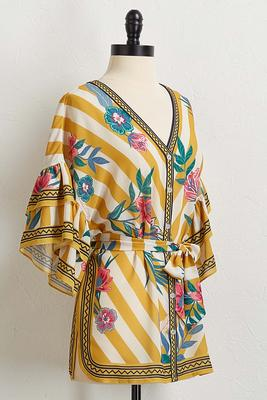 belted floral stripe top