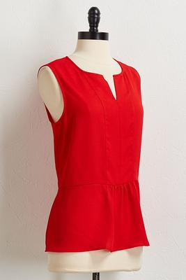red peplum tank