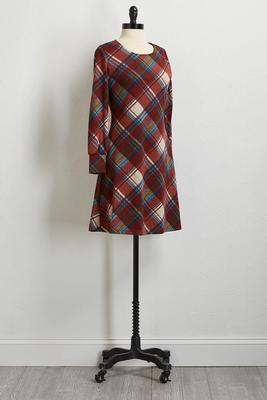 wine plaid shift dress