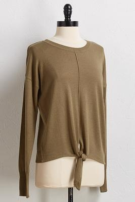 pullover tie front sweater