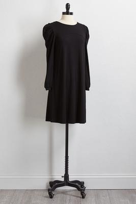 solid puff sleeve dress