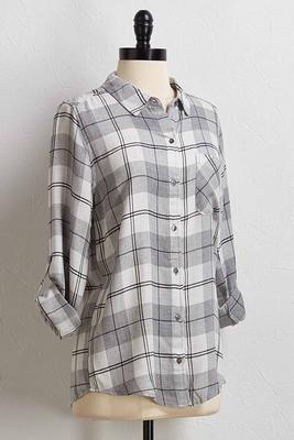 gray plaid flannel shirt