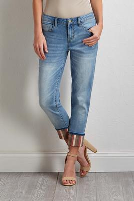 distressed stripe cuffed jeans