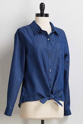dotted denim tie front top
