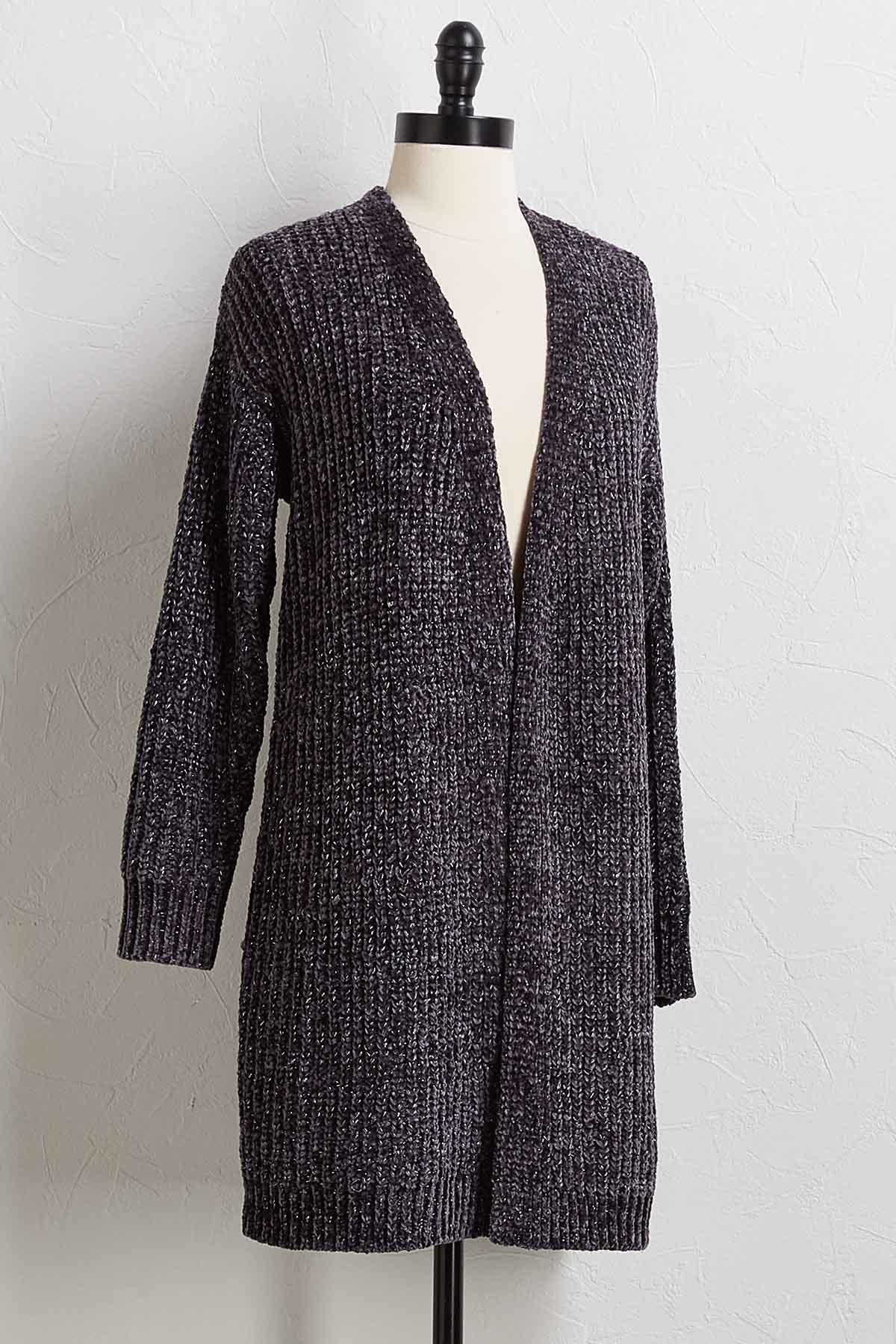 Chunky Chenille Cardigan Sweater