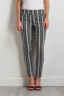 gray stripe pull-on pants