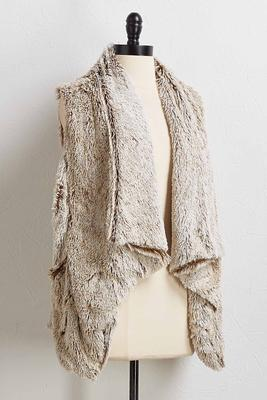 draped faux fur vest