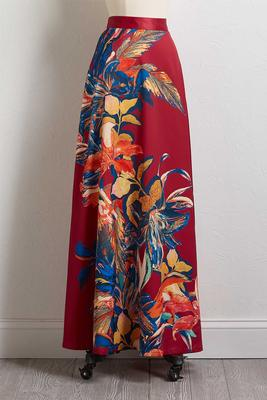 silky floral maxi skirt