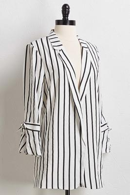 striped tie sleeve blazer