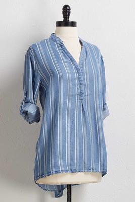 stripe chambray top