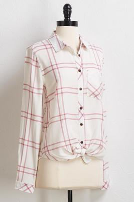 rose plaid tie front top
