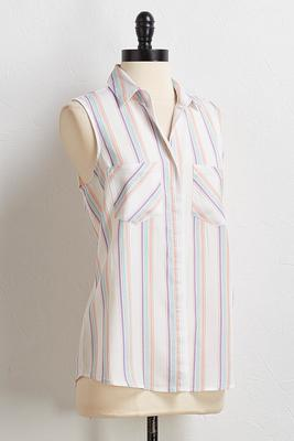 pastel stripe button down tank