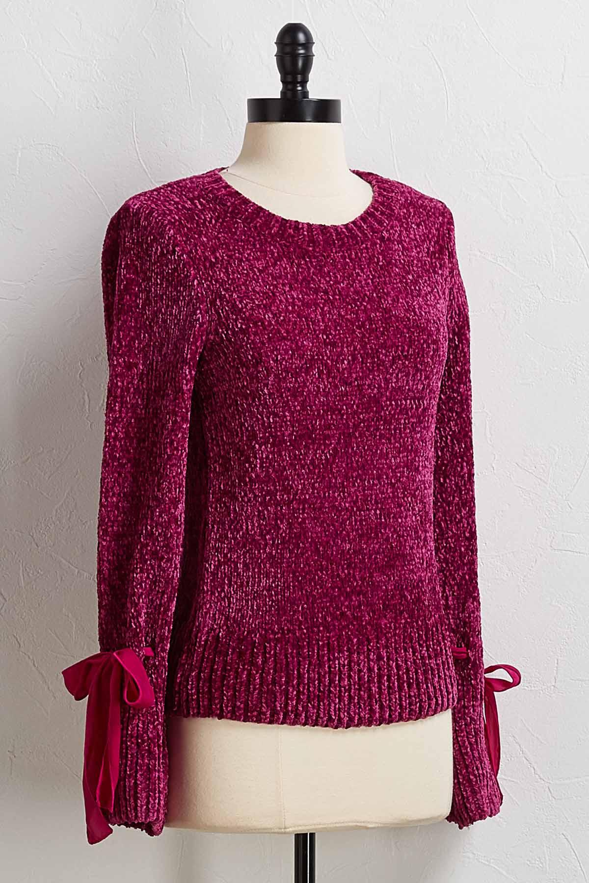 Chenille Tie Sleeve Sweater
