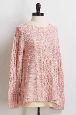 rose cable knit sweater