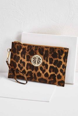 leopard medallion wristlet