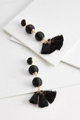 wrapped sphere tassel earrings