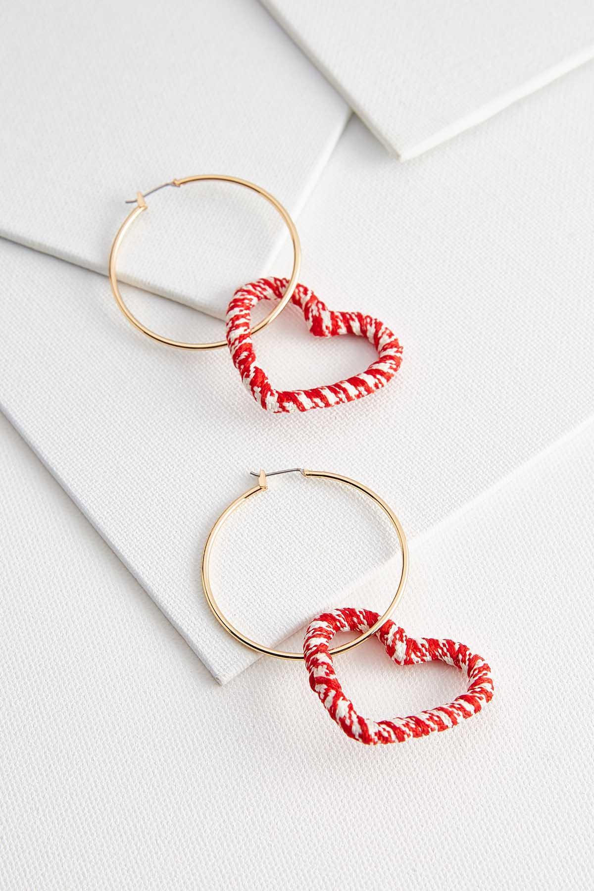 Dangle Crochet Heart Hoops