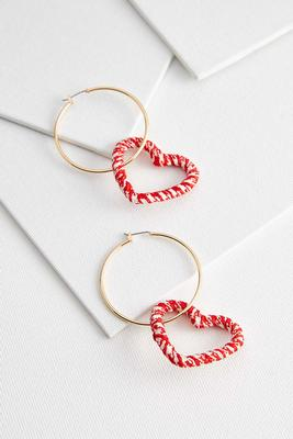 dangle crochet heart hoops