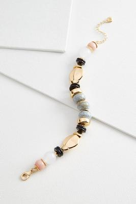 ceramic and metal bead bracelet