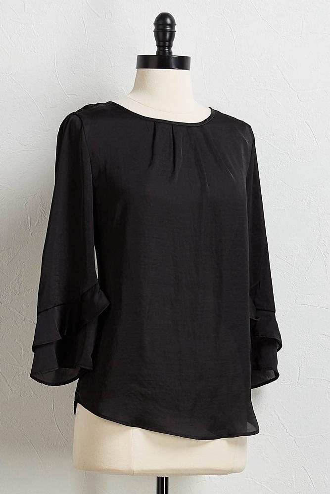 Satiny Bell Sleeve Top