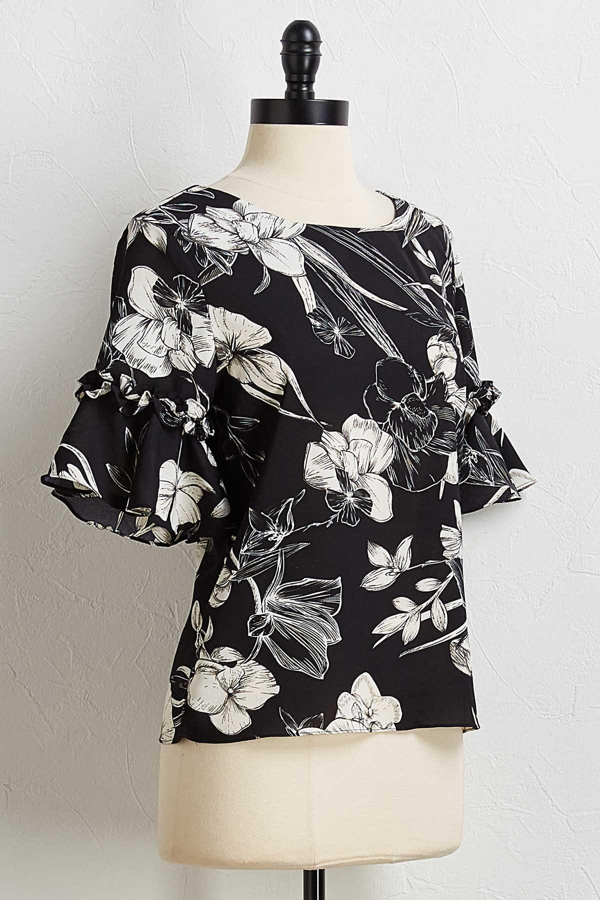 Floral Ruffled Sleeve Top