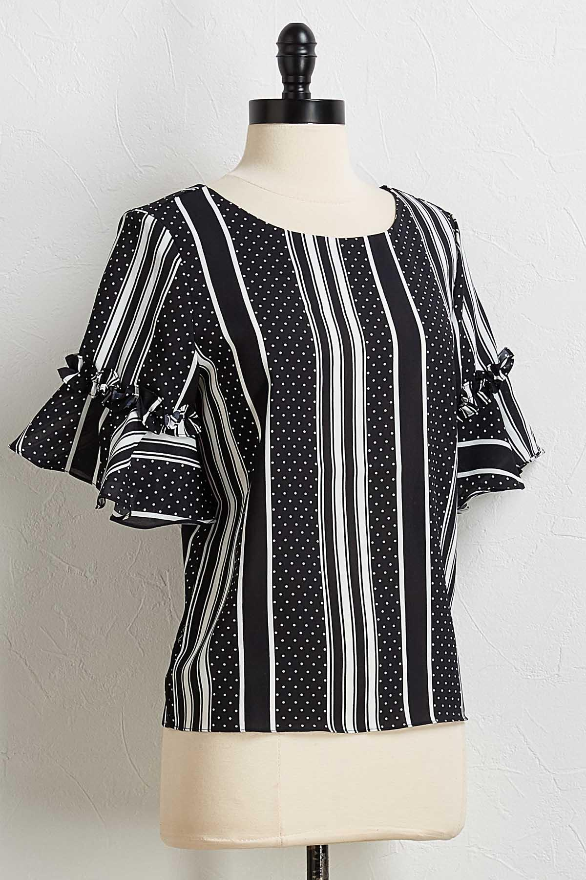 Dotted Stripe Ruffled Sleeve Top