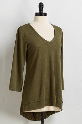clover green v-neck top