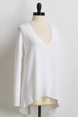 white tunic sweater