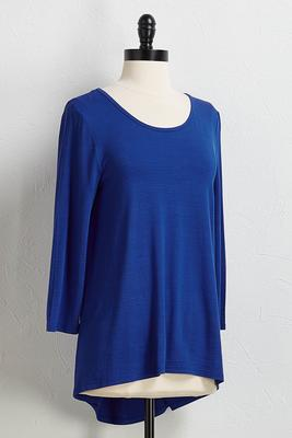 blue high-low tunic