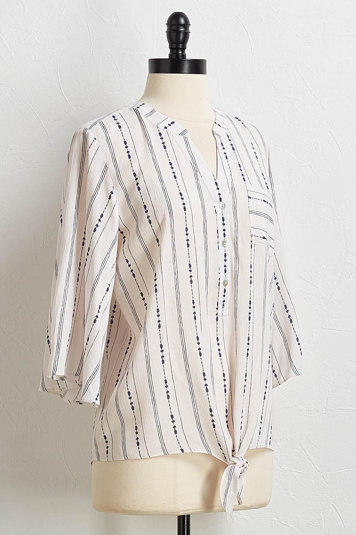 Blotted Stripe Tie Front Top