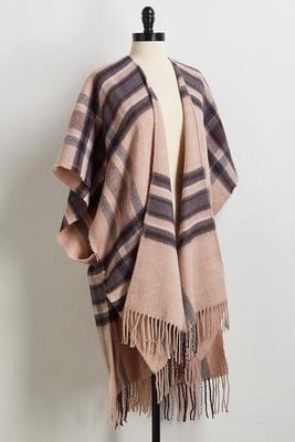 plaid fringe ruana