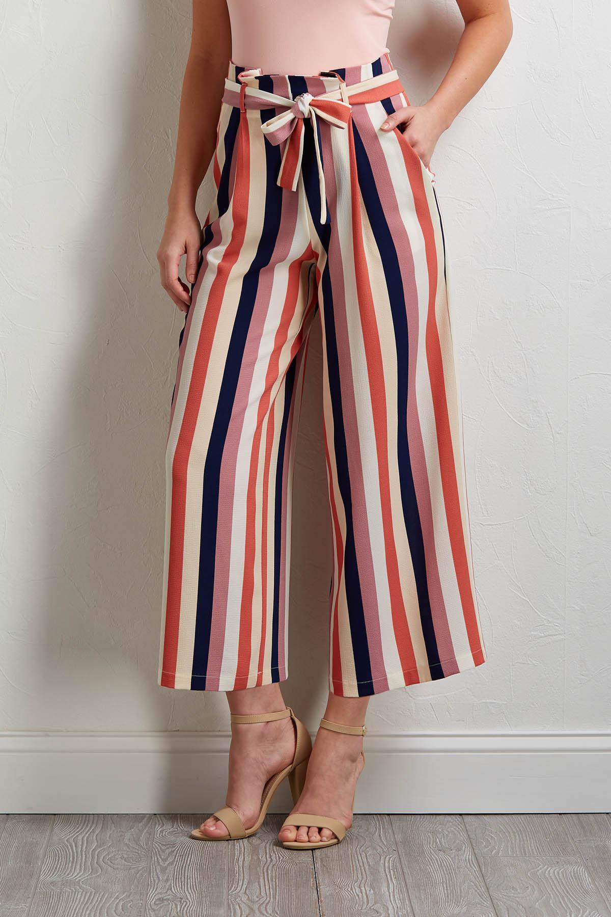 Multi Stripe Wide Leg Pants