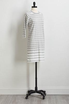 stripe hacci shift dress
