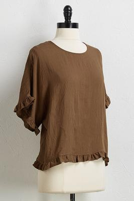 solid ruffled hem top