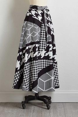 geo tie waist maxi skirt