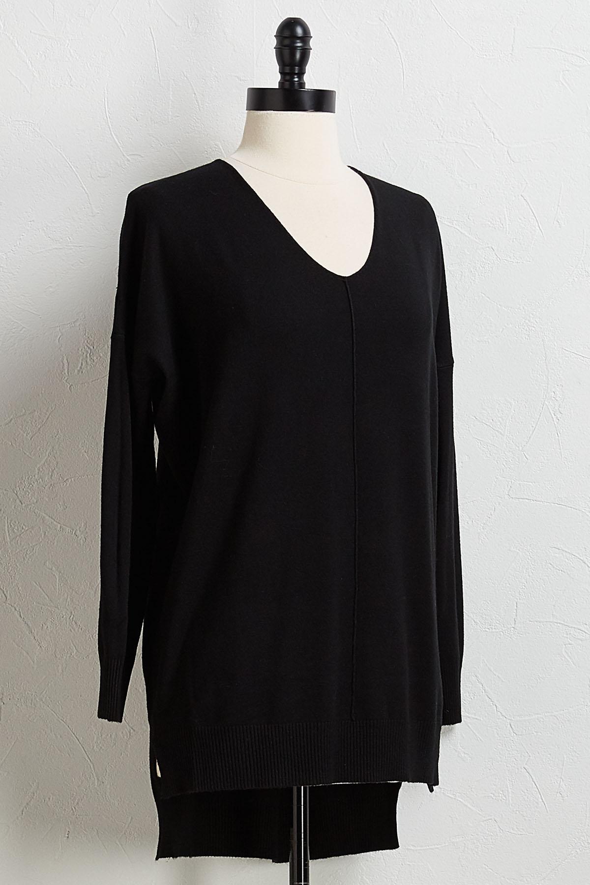 Black Step Up Tunic Sweater