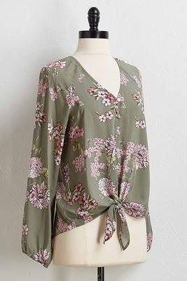 olive floral tie front top