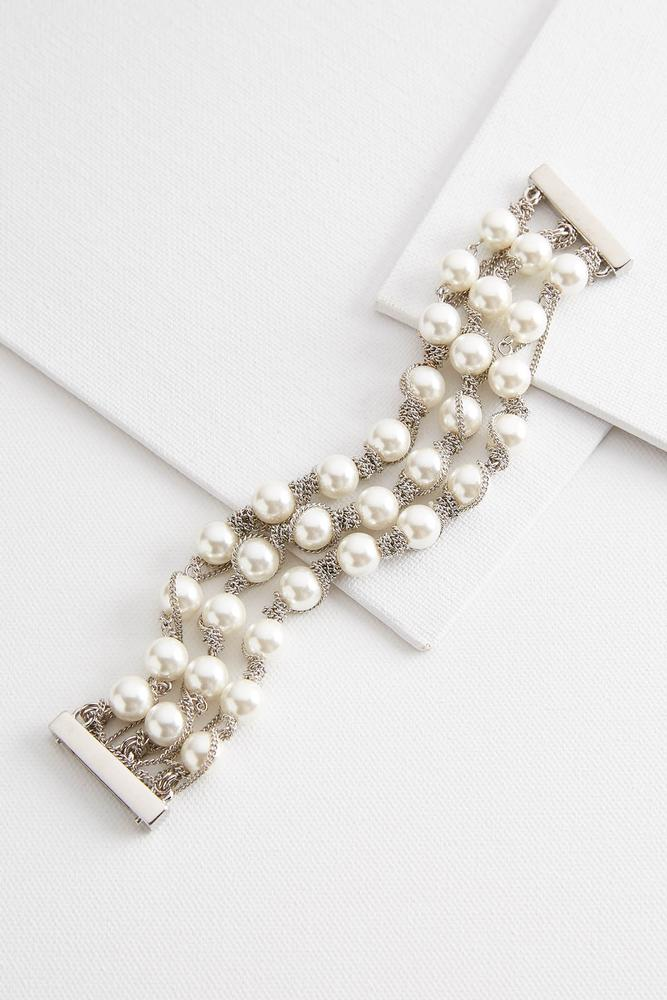Layered Chain And Pearl Bracelet