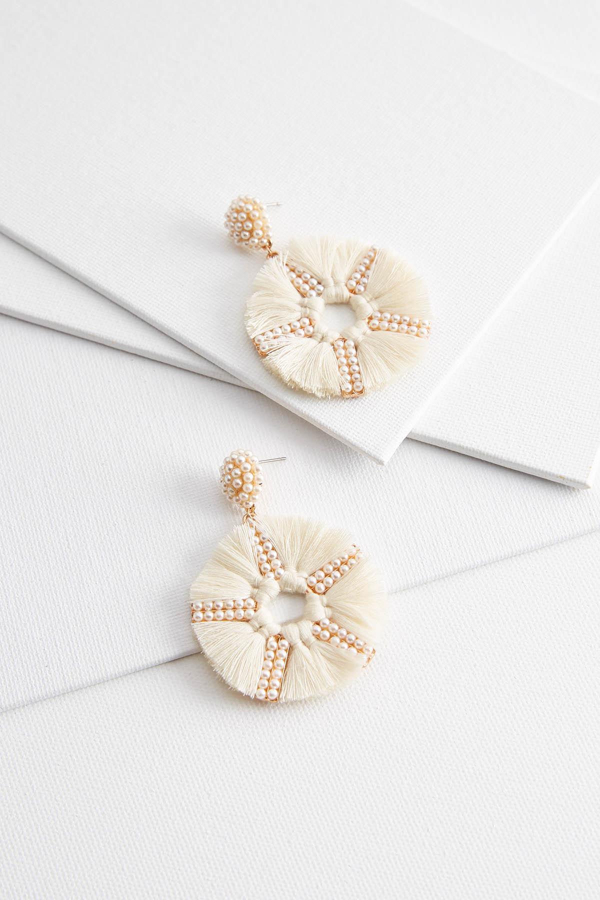 Dangling Tasseled Pearl Earrings