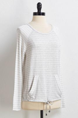drawstring multi stripe top